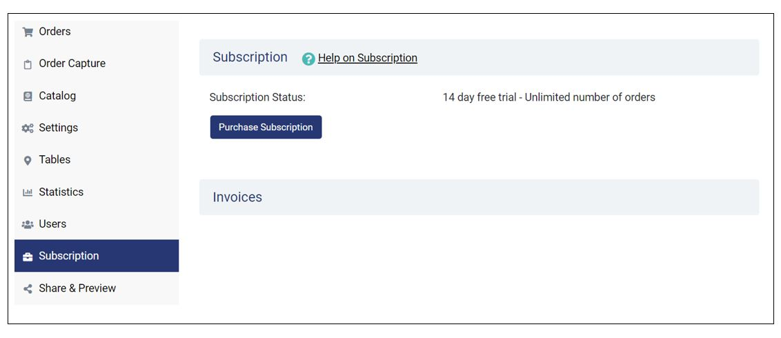 Subscription: 14-day free trial with unlimited orders