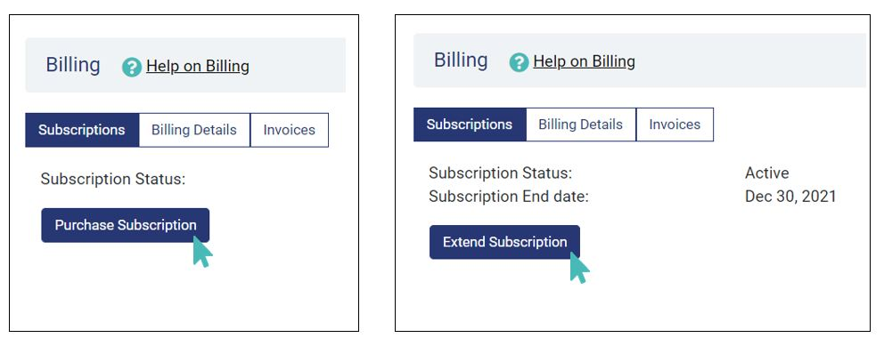 Purchase or extend a subscription
