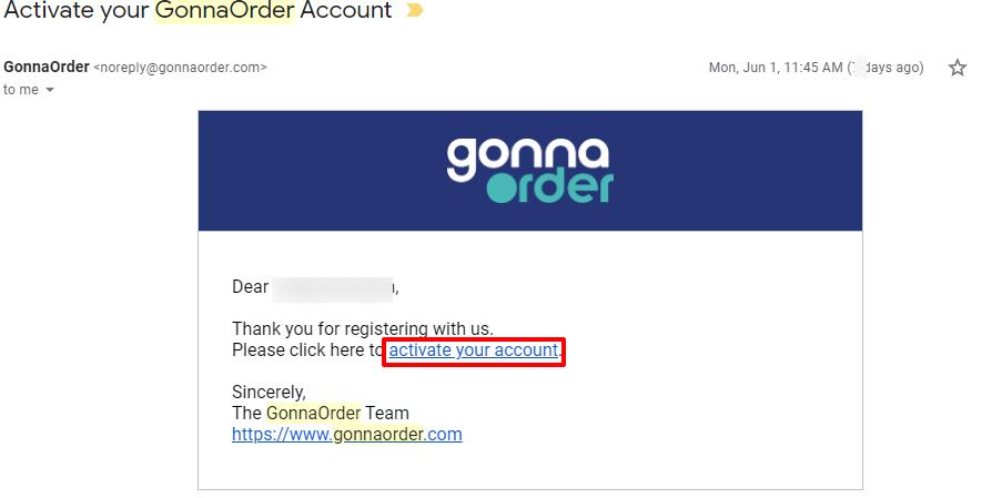 gonnaorder - account activation
