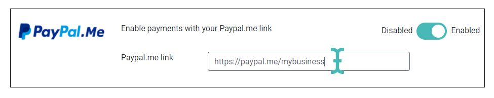 Paypal.me setting