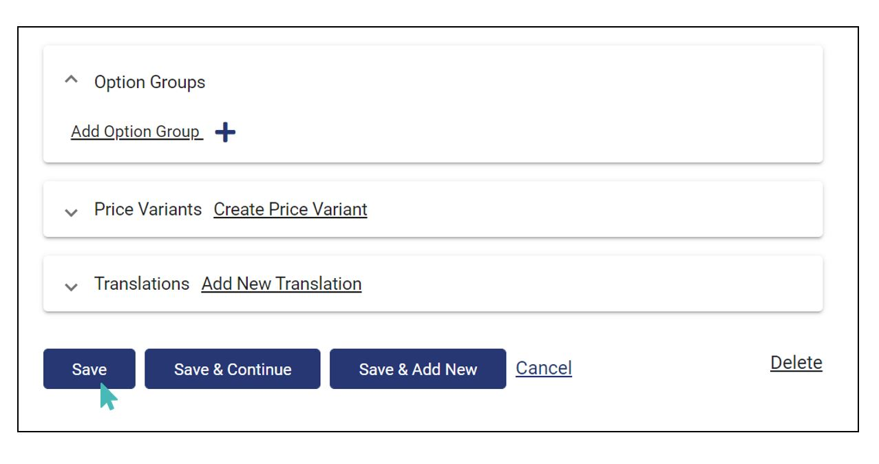 Save offer after editing necessary fields