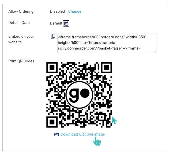 Download non orderable QR menu