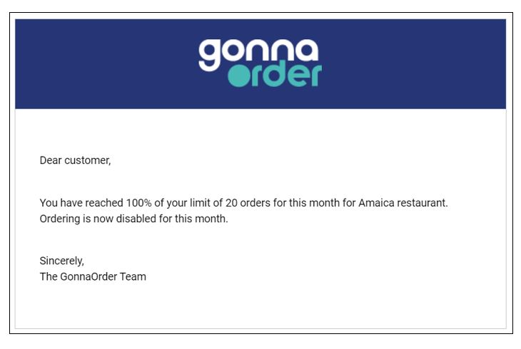 Email notification: 100% orders depleted