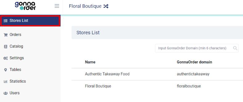 GonnaOrder - Liste des magasins