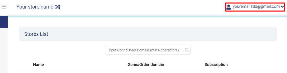 GonnaOrder - access your profile dashboard