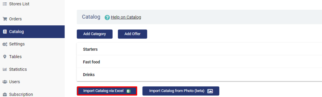 import catalog via excel