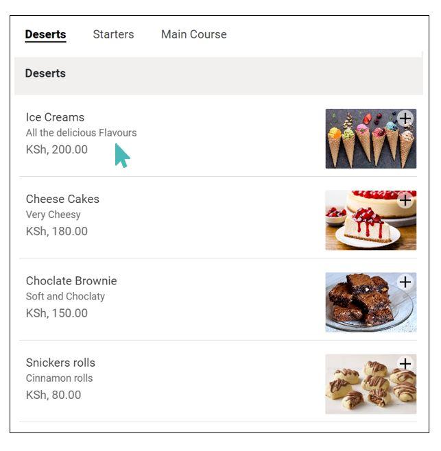 Interface client affichant l'offre de crème glacée