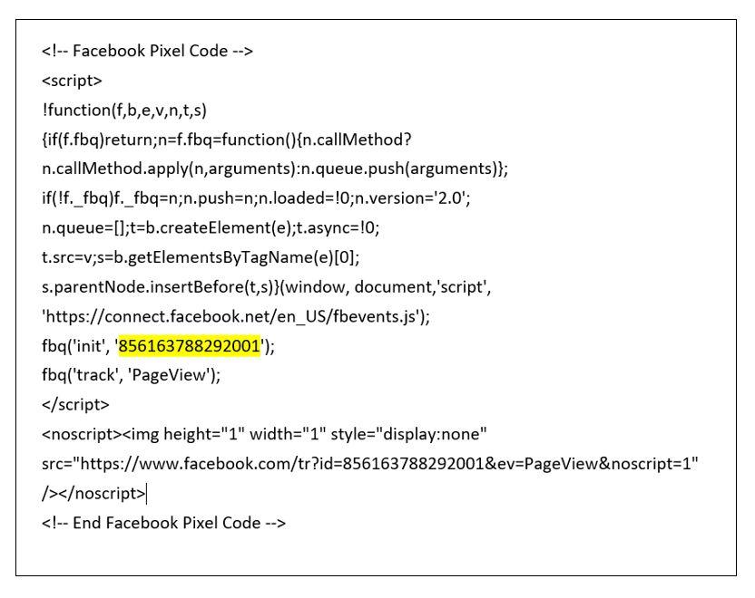 Code -Pixel- Facebook