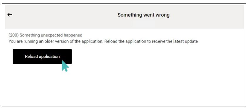 A reload application message for the customer